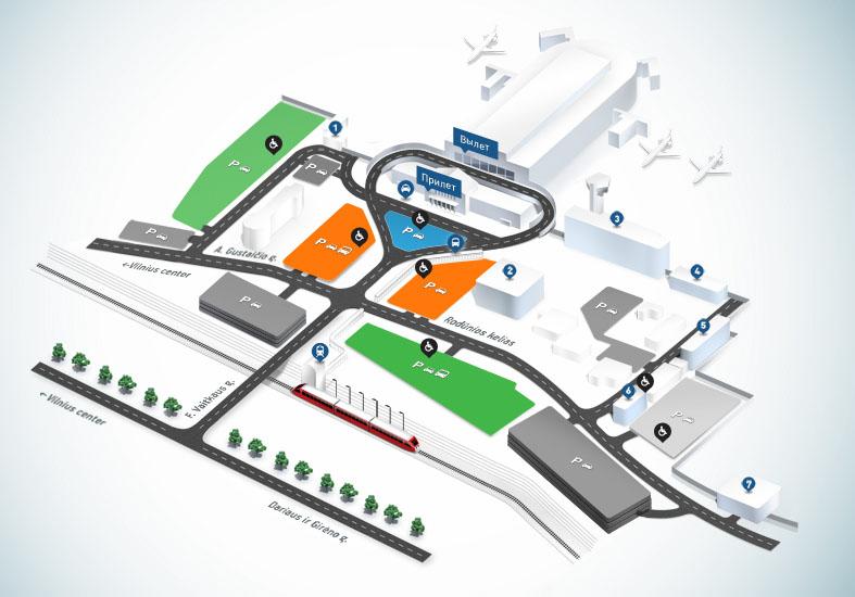 Схема подъезда и парковок аэропорта Вильнюс
