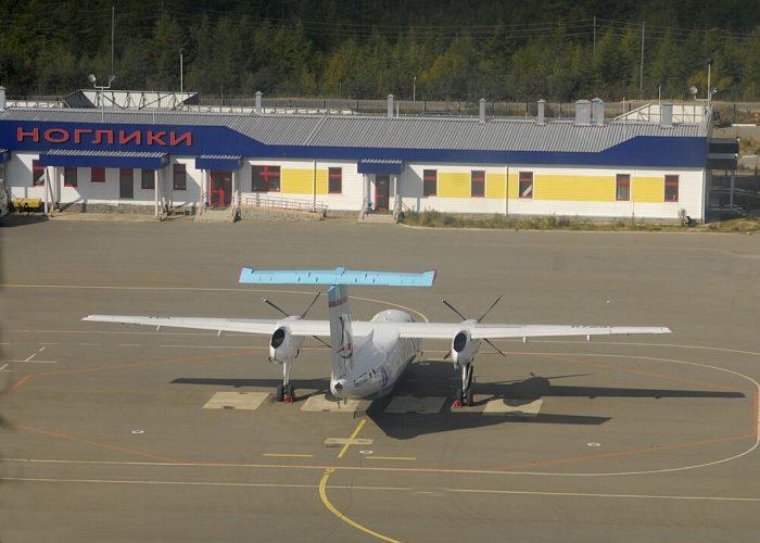 Стоянка самолетов в аэропорту Ноглики