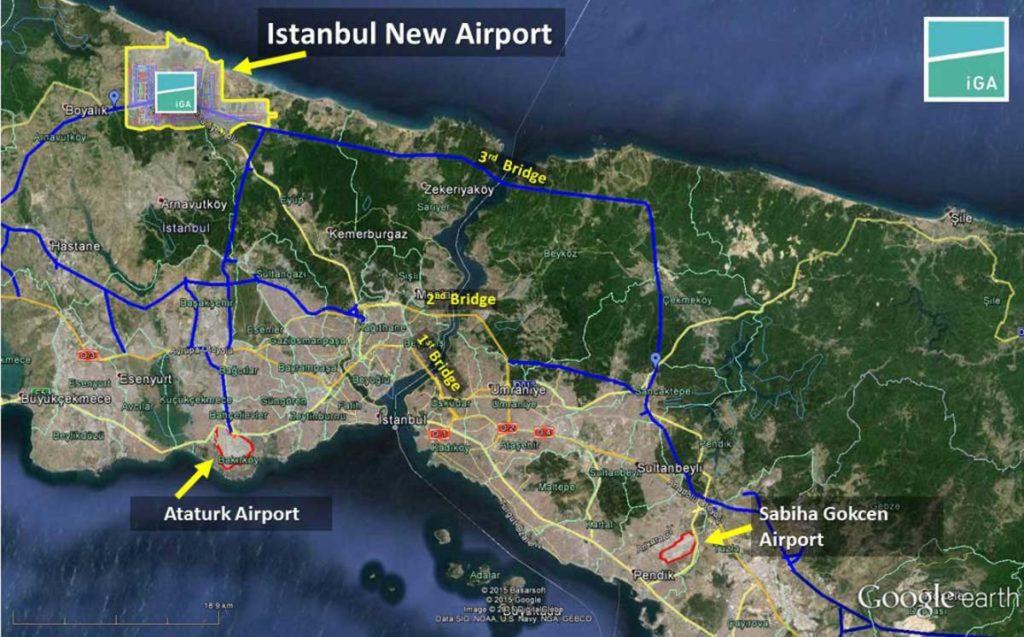 Расположение нового аэропорта Стамбула